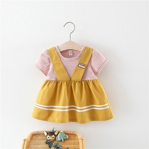 Falso de Duas Peças Infantis Roupas 0-3Years Recém-nascidos Do Bebê Meninas Vestido de Verão Bonito Vestido Listrado Meninas Vestido de Manga Curta