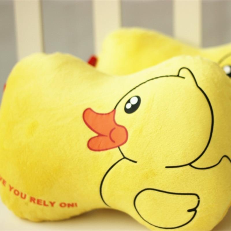 2PCS Cute Duck Car Seat Neck Pillow Universal Head Cushion Short Plush Auto Cartoon Headrest Travel Pillows Universal Size