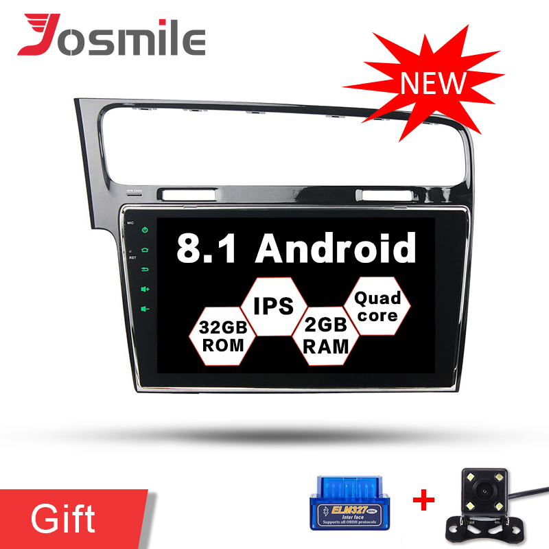 Android 8.1 Quad Core Car DVD Auto Radio Multimedia Player For Volkswagen/Golf 7 RAM 2GB WiFi Mirror link DVR GPS Navigation