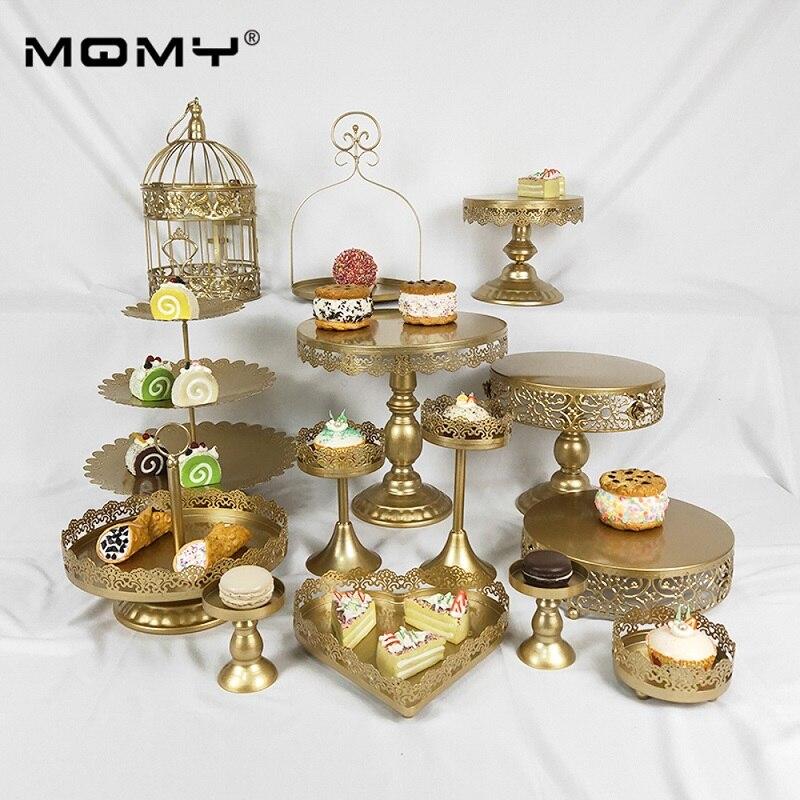 14 шт металлические пластины украшения десерт День рождения 3 уровня золотой белый торт стенд набор