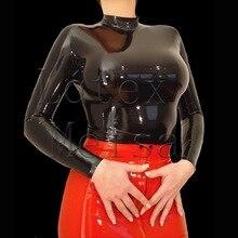 Клубные сексуальные латексные топы с длинными рукавами облегающие футболки с натуральный латекс материалы черного цвета для женщин