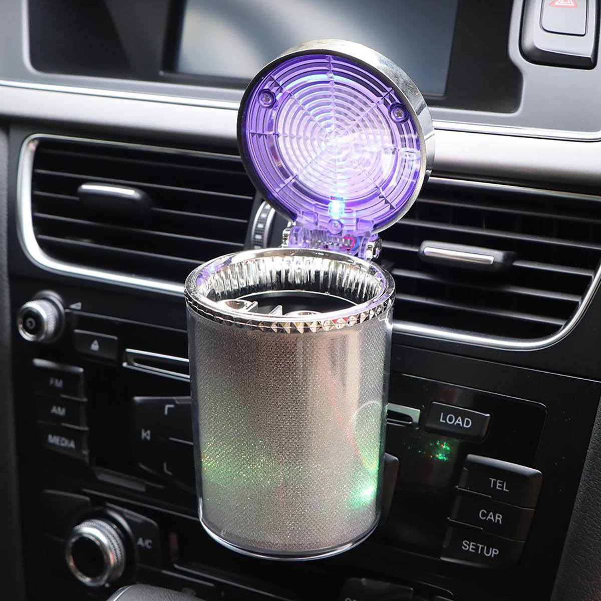 Portable Cylinder Car Ashtray Portable Cigarette Ashtray Smokeless Colorful LED Light Indicator Auto Ashtray Styling Accessories