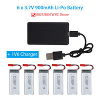 TOMLOV 6Pcs 3.7V 900mAh Li Po Rechargeable Battery With JST Plug+1V6 Charger For 8807/8807W RC Drone
