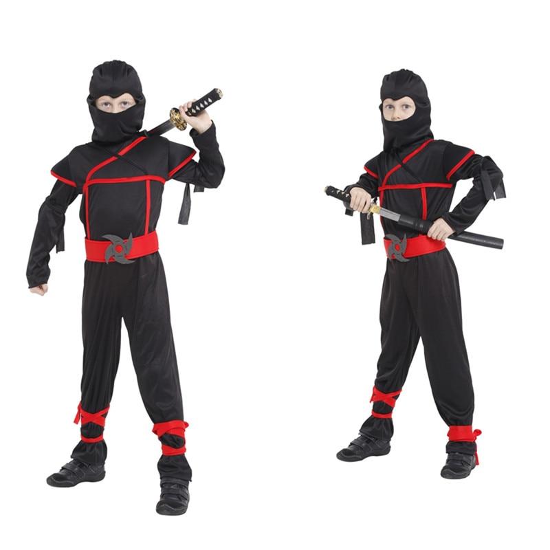 Children Super handsome Boy Kids black ninja warrior costumes Christmas Day New Year Purim Halloween party game gift