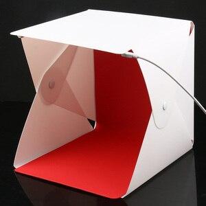 Image 5 - Mini Pieghevole Lightbox Fotografia Photo Studio Softbox 2 Pannello HA CONDOTTO LA Luce Soft Box Photo Sfondo Kit scatola di Luce per DSLR macchina fotografica
