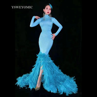 New Style Blue Pearls Long Train Feather Dress Women Singer Dancer Outfit Bar Birthday Celebrate Dress Stage Prom Evening Dress