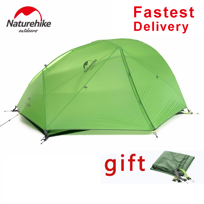 DHL freeshipping New 2 Person Camping Tent Waterproof 20D Silicone Fabric Double-layer Tent 4 seasons Tent NH15T012-T20D nh cloud outdoor single person camping tent anti rain 4seasons ultraportability 20d nylon silicone cated waterproof 8000mm