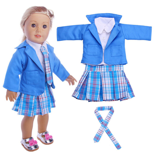 18 inch American girl doll Student uniform clothes Dress Suit Set for 43cm Zapf Baby Born dolls accessory, children gifts