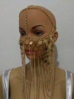 סגנון אופנה חדש WRB977 נשים שרשרות זהב שכבות תכשיטי שרשרות שרשרות מסכת ראש שיער ראש ייחודי 2 צבעים