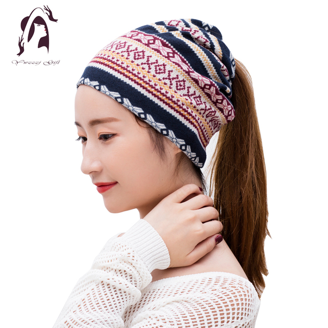 2018 Novelty Women Winter Headband Print Elastic Cotton Hair Hat For Girls  Neck Warmer Design Lady Fashion Hair Accessories 72314b26b04