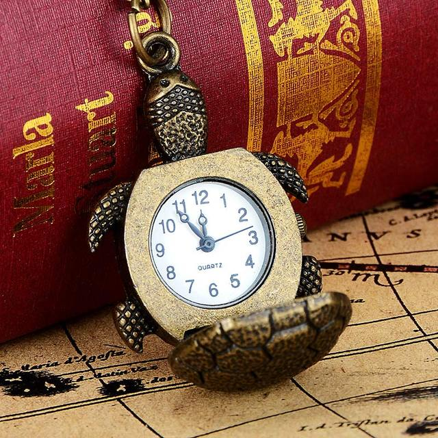 Vintage Women Men Turtle Shape Pocket Watch With Necklace Watch Gift LL@17