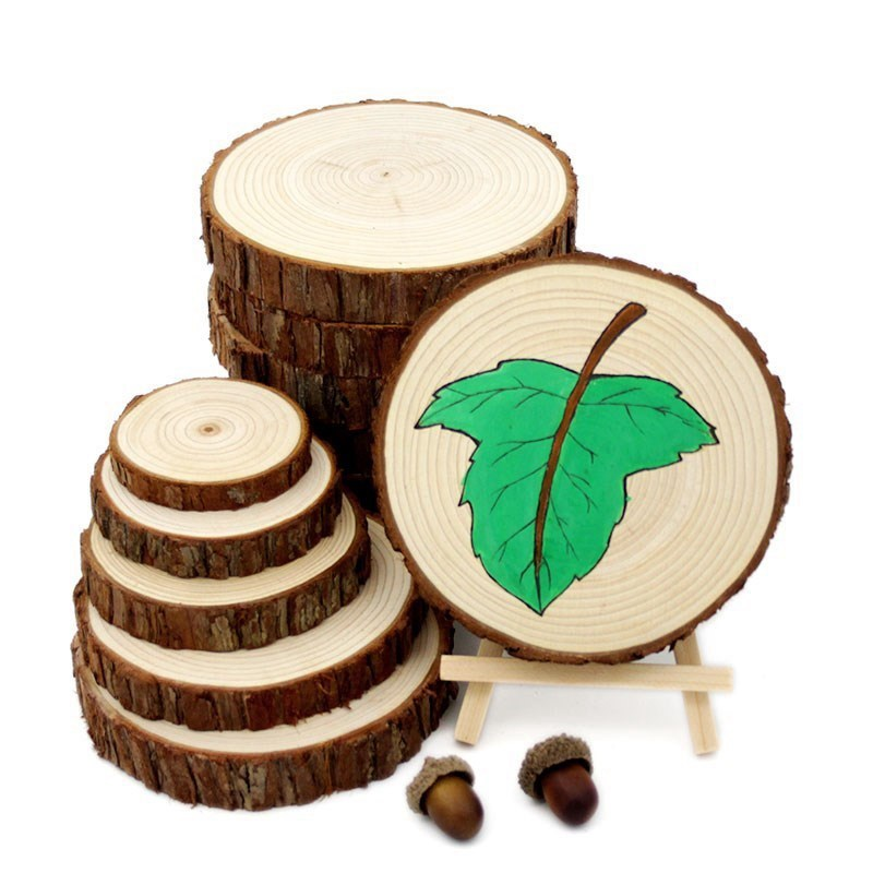 14-15cm Wood Crafts Log Slices Discs Cutout Circle Round Large Paint Decor Wooden For Wedding Party Craft DIY Decoration