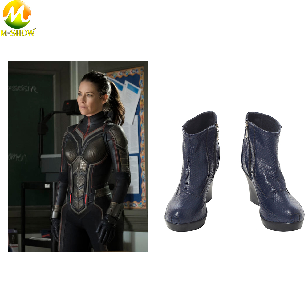 Women  Ant-Man And The Wasp Cosplay Boots Blue PU Leather Boots Women Fashion Wedge Shoes For Halloween