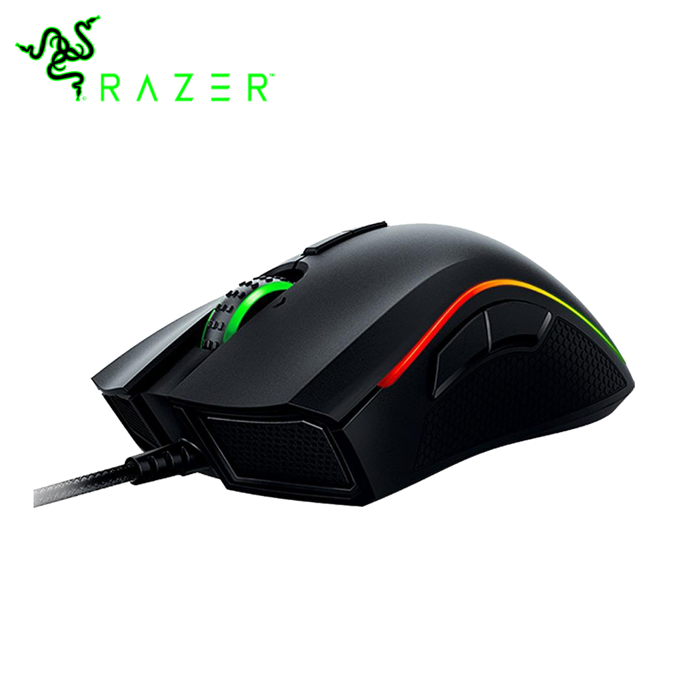 Original Razer Mamba Elite Wired Gaming Mouse 16000 DPI 5G Laser Sensor Chroma Light Ergonomic Gaming Mouse For PC Gamer Laptop razer taipan usb 2 0 wired 8200dpi dual sensor system laser gaming mouse black 200cm cable
