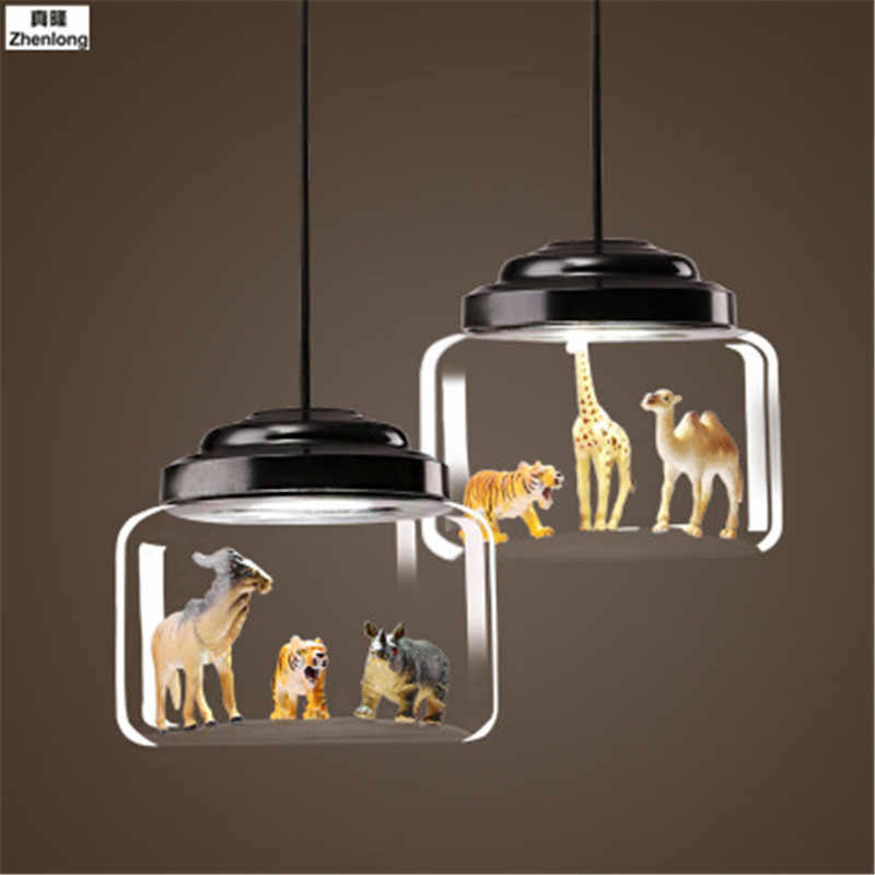 Children's Bedroom Pendant Lamp Creative Personality Animal Model Glass Hanging Lights 220V for Corridor Living Room Dining Room