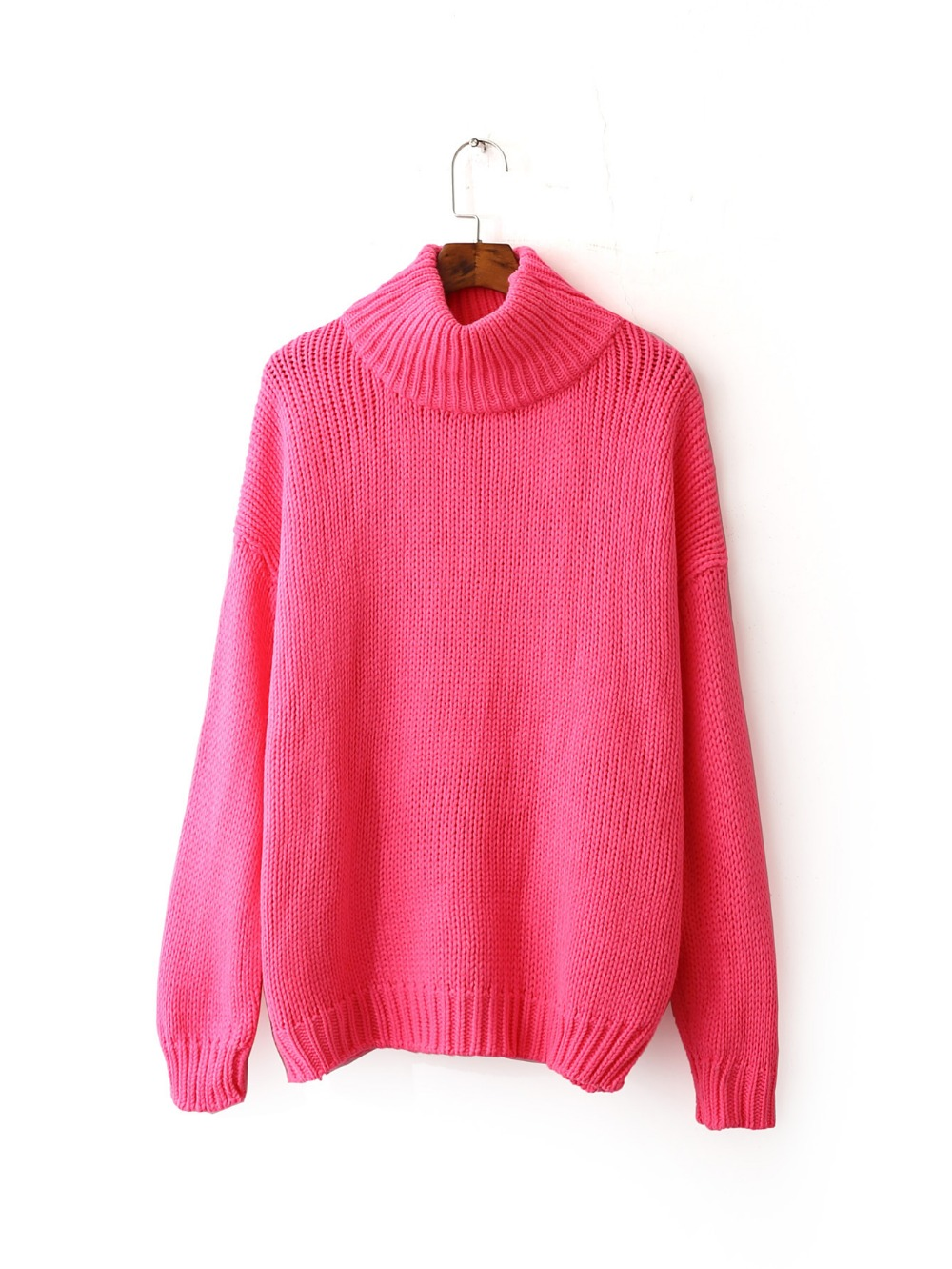 2016 Women Sweaters And Pullovers Hot Pink Sweater Women Winter ...