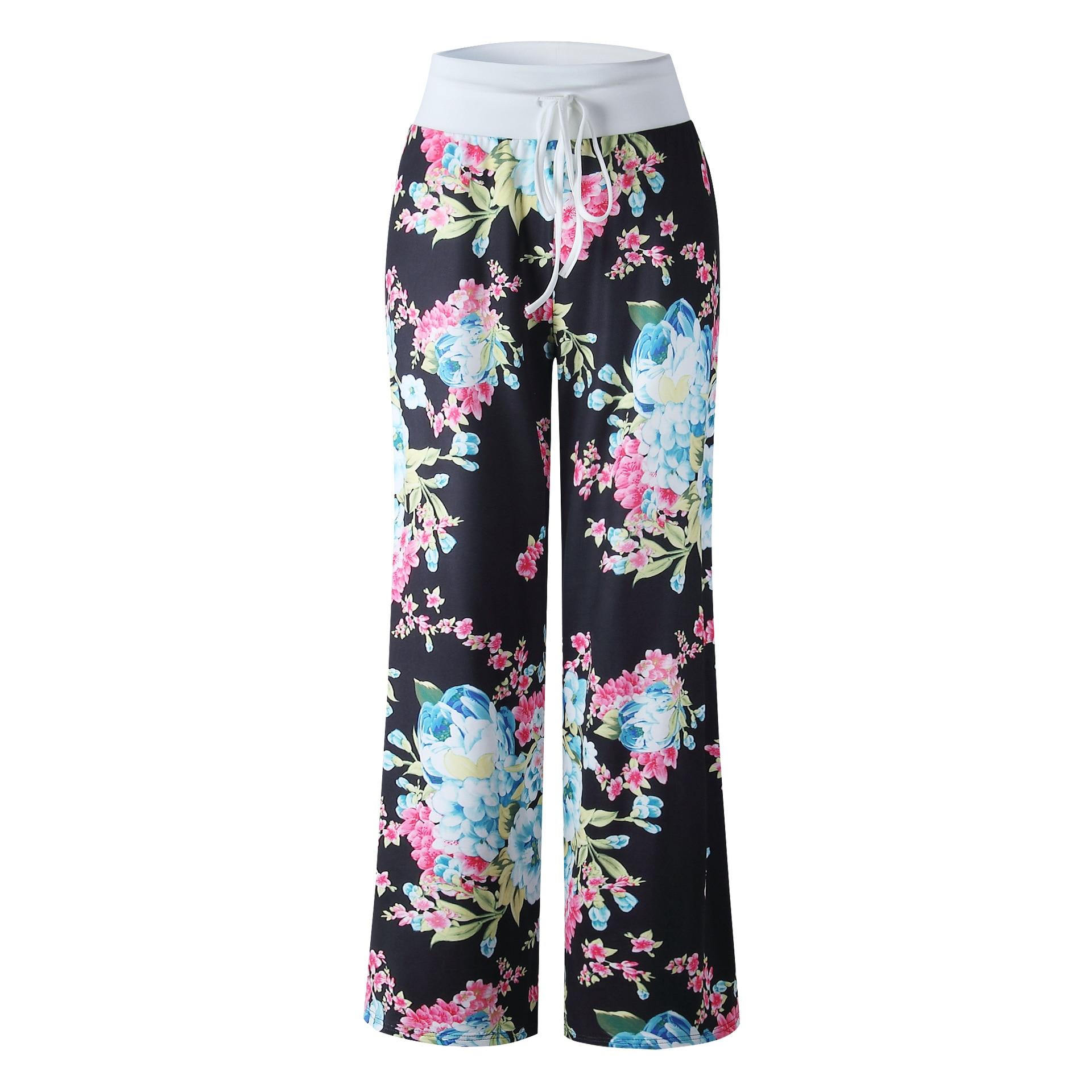 Women Long Pants Loose Floral Print Drawstring Lace Camouflage stripe Wave point Sweatpants 17