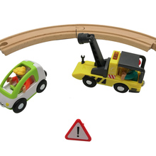 Tow Truck Sets Road Rescue Kit Car Toy Wooden Car Track Toy for Children Gift Magnetic Toy Car Kids Adjustable Crane цена и фото