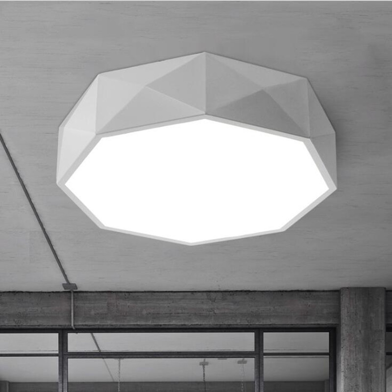 Ceiling lights iron LED  lamps Geometric polygon iron baked paint body Acrylic faceplate panel for Bedroom light fixture a1 track led ceiling lights iron