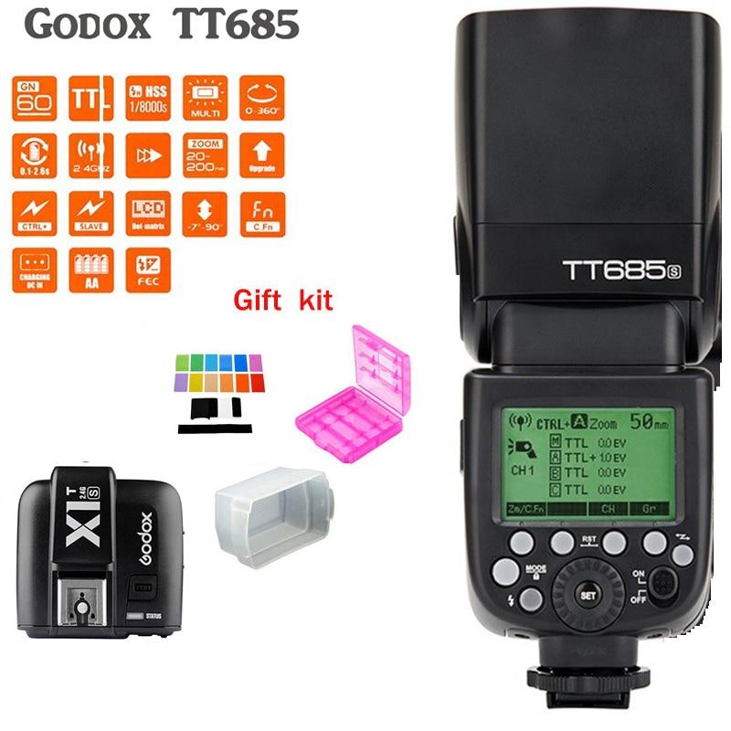 Godox TT685S Speedlite Flash Light GN60 1/8000s HSS TTL+ X1T-S Flash Transmitter (MI Shoe) for Sony A58 A7RII A7II A99 A7R godox tt350s hss 1 8000s 2 4g speedlite flash light ttl for sony multi interface shoe camera a58 a99 ilce6000l a77ii a7rii a7r