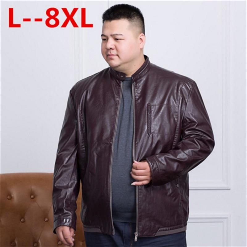 LONGHONGYU plus size 8XL 6XL 5XL 4X brand PU Motorcycle Leather Jackets Men, Autumn Winter Clothing,Male Casual black red Coats