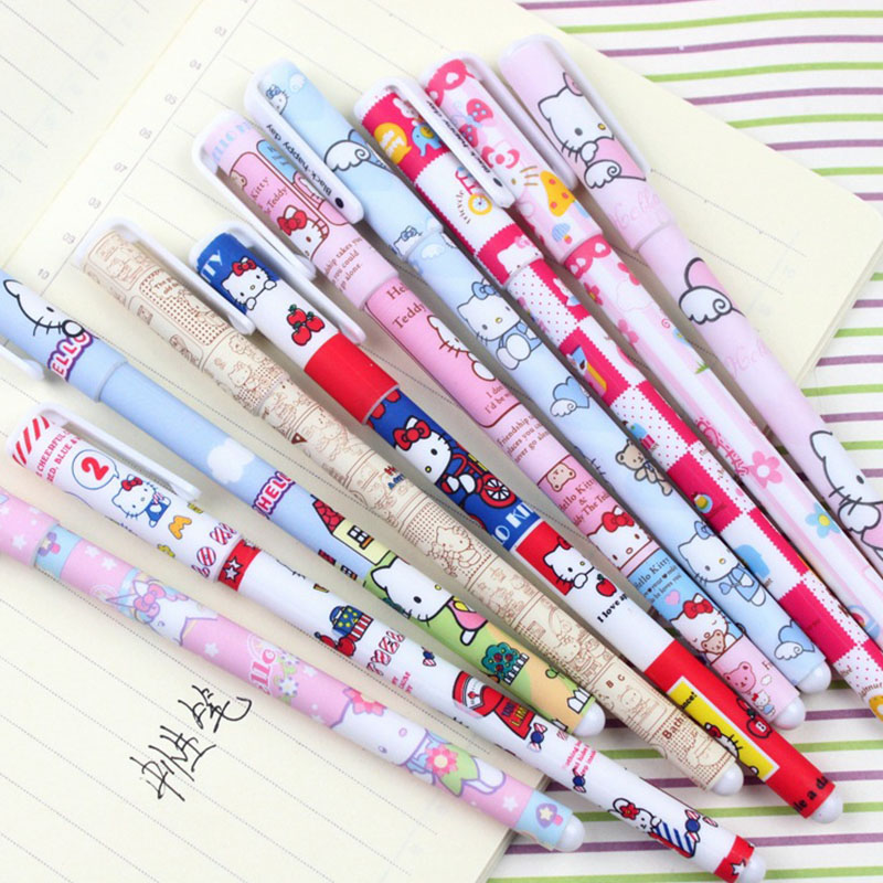 10 pcs/set Cute stationery Colorful Hello kitty gel pen 0.38mm colored ink pens for writing escolar office school supplies zakka deli gel pens office 12 pcs black ink stationery pen cute school supplies creative stationery for writing high quality pen