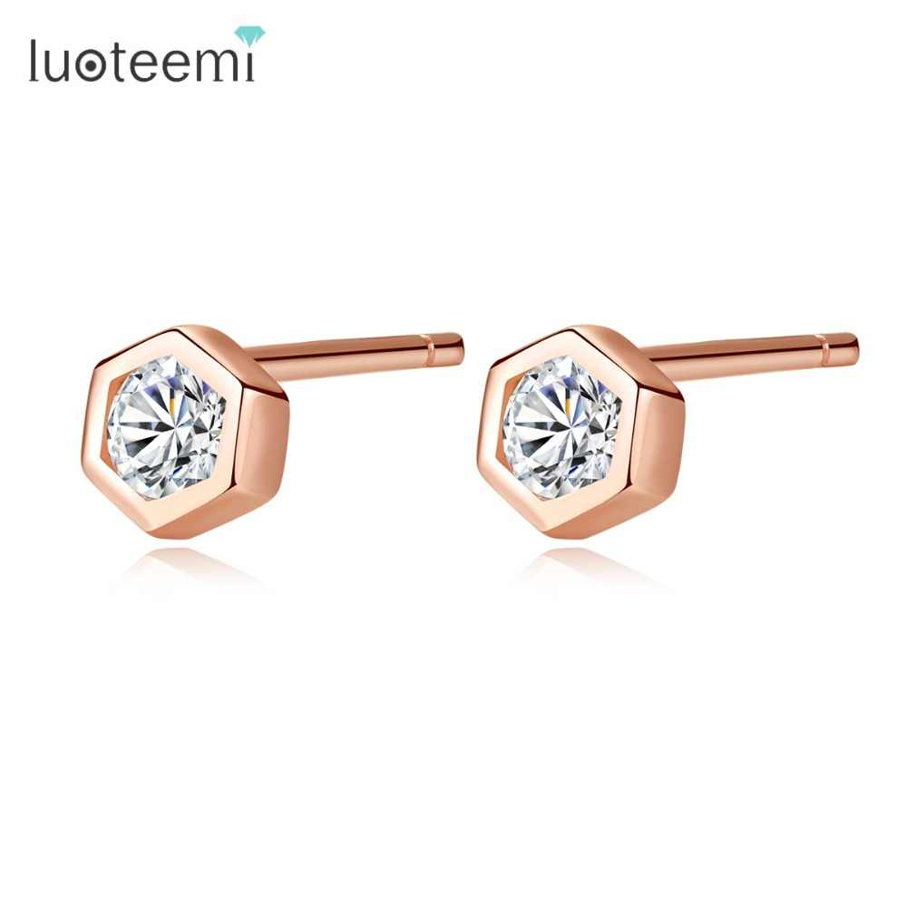 LUOTEEMI New Luxury Lady 925 Sterling Silver Tiny Geometric CZ Crystal Stud Earring For Women Rose Gold Color Daily-life Brincos
