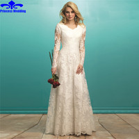 Long Sleeve Lace A Line Wedding Dresses V Neck Robe De Mariage Vestido De Casamento Novia