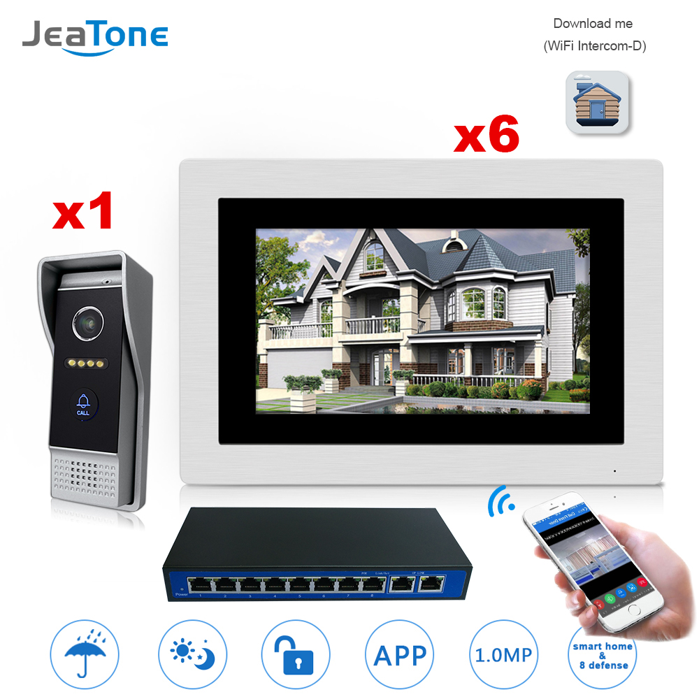 7&#8221; WIFI <font><b>IP</b></font> Video Door <font><b>Phone</b></font> Intercom Door Bell Villa Access Control System Touch Screen Motion Detection 1 to 6 with POE <font><b>Switch</b></font>