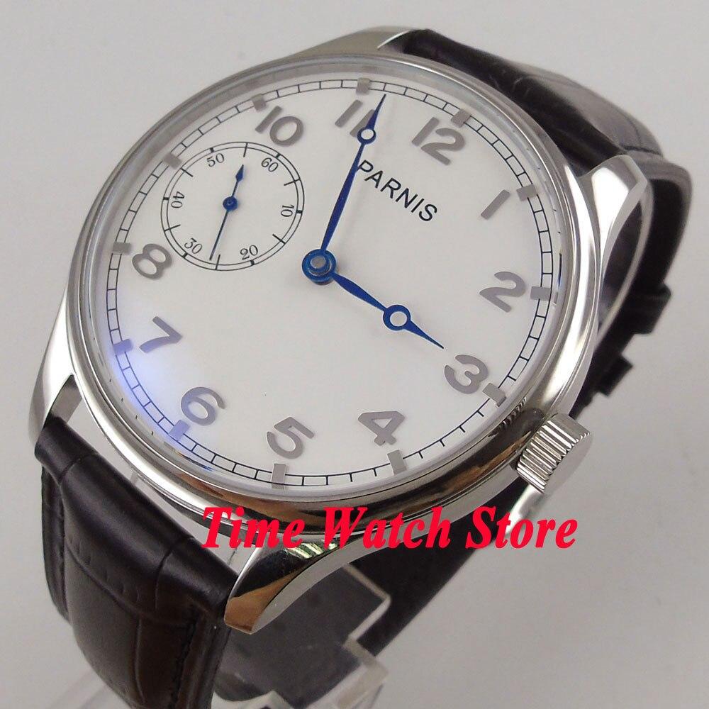 5b08a644fb1 44mm Parnis mostrador branco azul mãos 17 jóias mecânico 6497 mão winding  movimento do relógio Dos Homens 899 em Relógios mecânicos de Relógios no ...