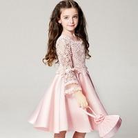 Fashion Baby Girls Kids Children Lace Sleeve Flower Dresses Princess Party Wedding Pageant Dress Vestidos S3455