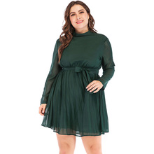 купить 2019 New fashion large size women long-sleeved stand collar solid color pleated chiffon dress female по цене 1972.82 рублей