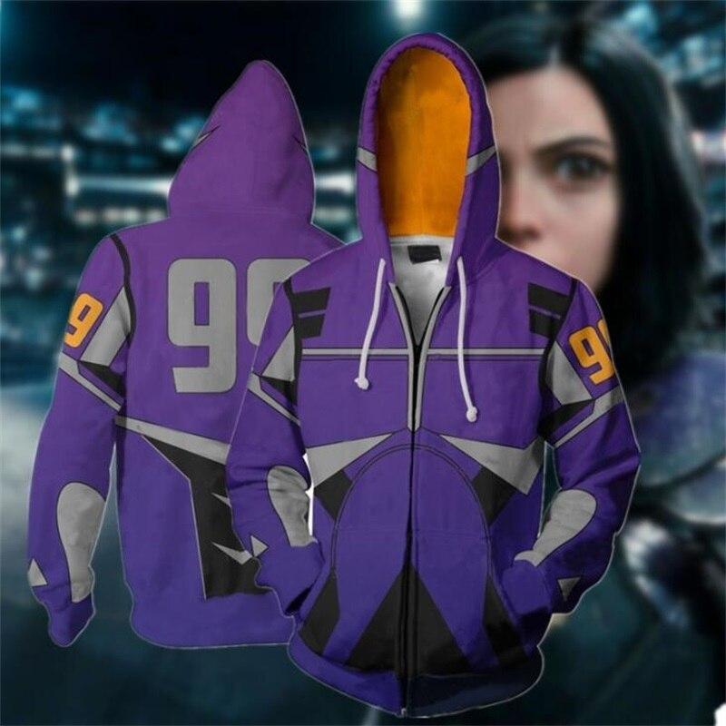 Alita Battle Angel 3D Print Zipper Hoodies Sweatshirts Casual Jacket Coat Cosplay Costume