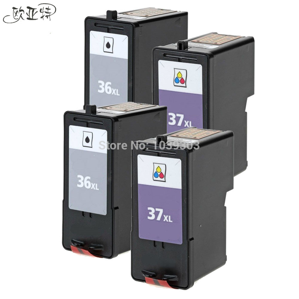 4 Pack Ink Cartridge 36XL 37XL Combo 2-Set Compatible For Lexmark #36 #37 X6675 X7665 X5650 1pc set ink cartridge compatible lexmark lx34 18c0034 bk for lexmark printers p900 p4300 p6200 p6300x3300 x5200 x7100 x7300