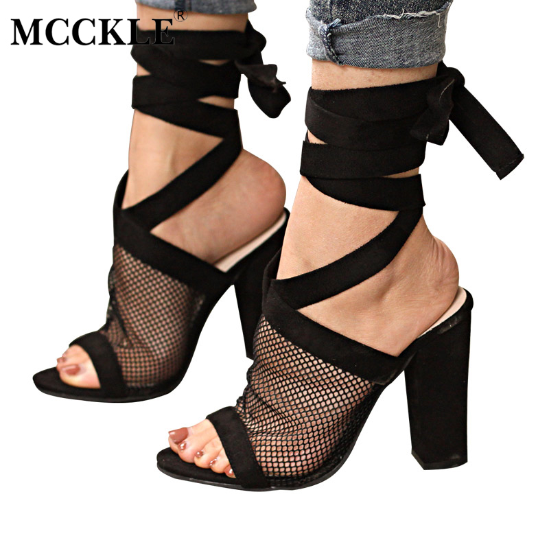MCCKLE Women Spring Mesh Ankle Strap Sandals Woman Open Toe Square High Heel Shoes Female Lace up Party Dress Plus Size 34-43 plus size 34 43 new summer shoes woman open toe women ankle strap wedges sandals casual low heel sandals women sandals