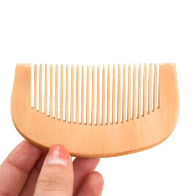 Peach Wood Thickened Curved Pocket Hair Comb Massage Anti-Static Fine-Tooth Salon Styling Tool Hairdressing Barbers Brush 1Pc