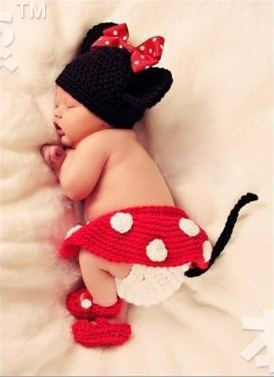 Baby Crochet Mickey Mouse Hat Infant Photo Props Kids Knitted Hats A set of  hat pants skirt and shoes Free Shipping 33b8a38ee19