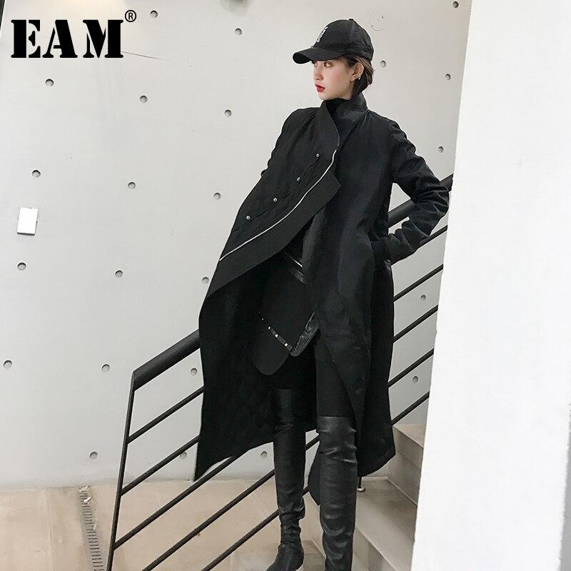 [EAM] 2019 Весна Женские однотонные Clack Стенд ошейник с длинным рукавом Irgular карман на молнии теплые свободные утолщение пальто парки LD737