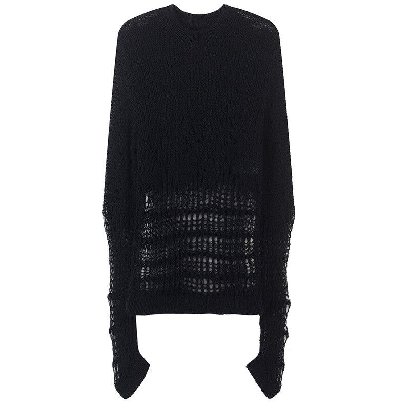 Complet Nouveau Casual Femme Creux Noir Printemps Style Sexy Tricoté Shirts Mince 2019 Pulls Coréen Out Pull Manches 5IqZYxw