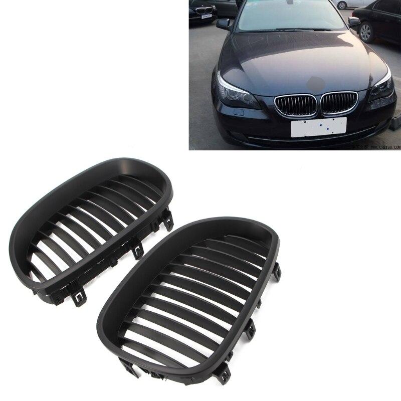 2Pcs Matte Black Kidney Grilles For BMW E60 E61 5 Series 520d 520i 04-09 Framed Dual Slat Grill Front Kidney Grille Bumper-M18 2pcs front grille bumper hood grill grilles automobile front kidney grille for bmw 1 series f20 2012 2014 glossy black
