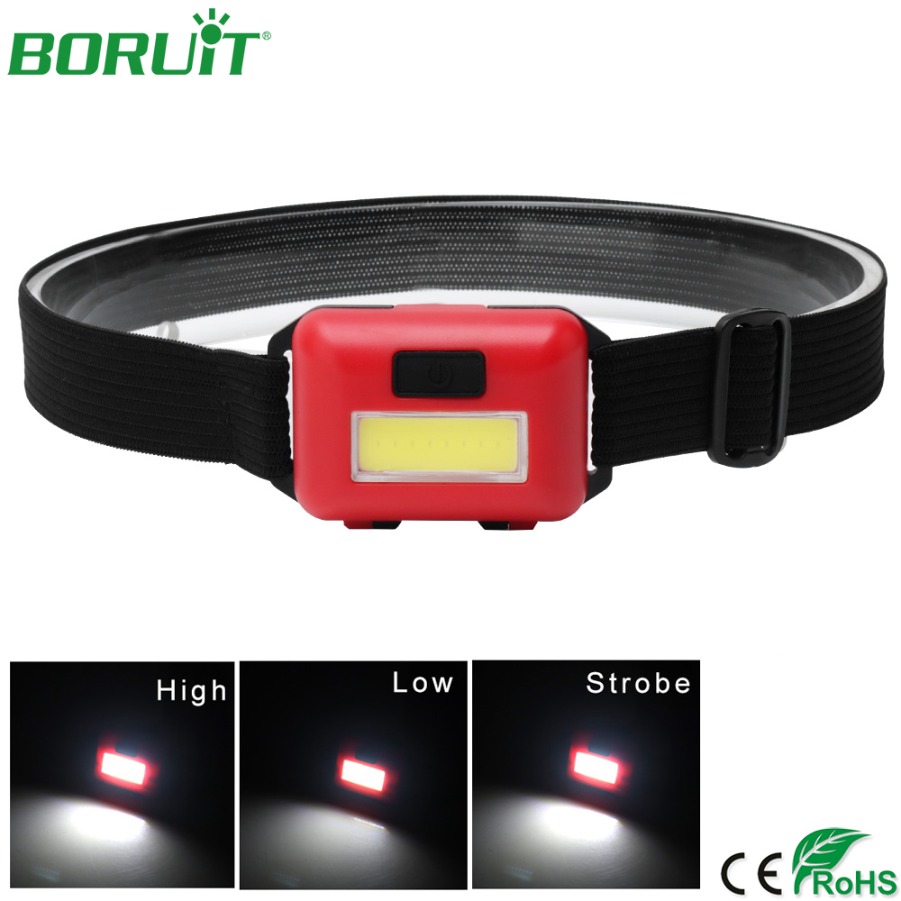 BORUiT Waterproof Mini LED Headlamp Flashlight 3 Modes Portable Lantern For Outdoor Camping Hunting Fishing Head Torch Light