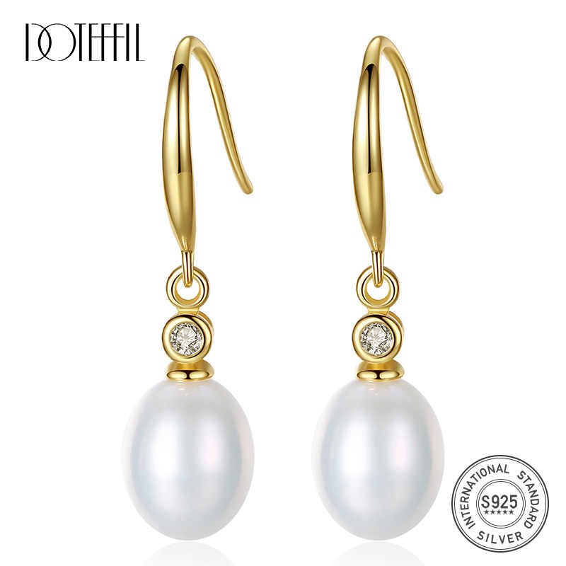 DOTEFFIL Drop Earrings Genuine Natural Freshwater Pearl 925 Sterling Silver Gilt Earrings Pearl Jewelry Women Wedding/Party Gift