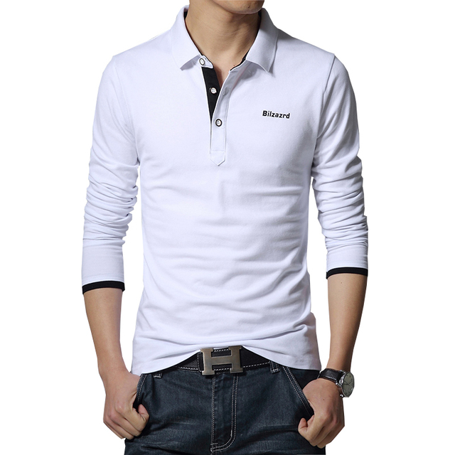 Отпечатано с длинными рукавами мужская новый мужской моды бренд Polo Рубашки мужские тонкий polo рубашки продажи