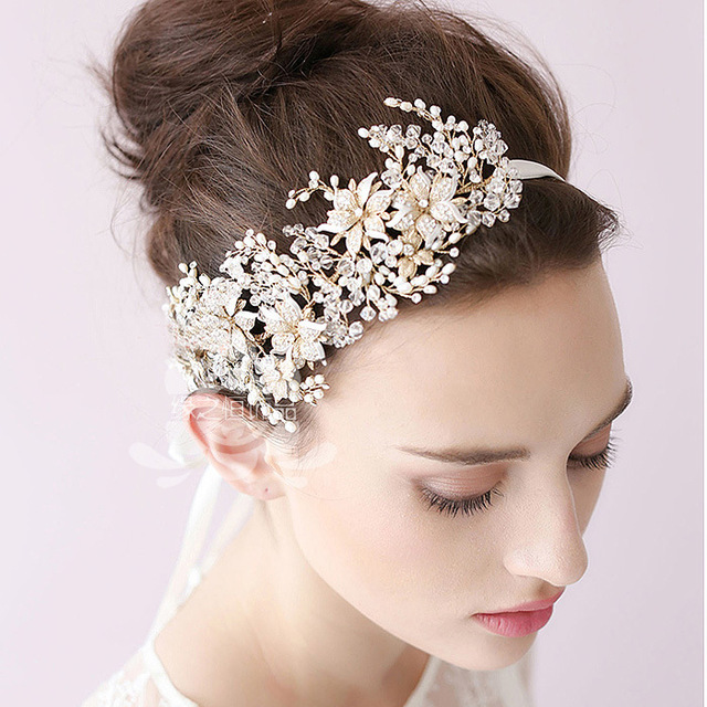 baroque bridal hair accessories wedding gold crown and tiara headband hair ornaments head. Black Bedroom Furniture Sets. Home Design Ideas