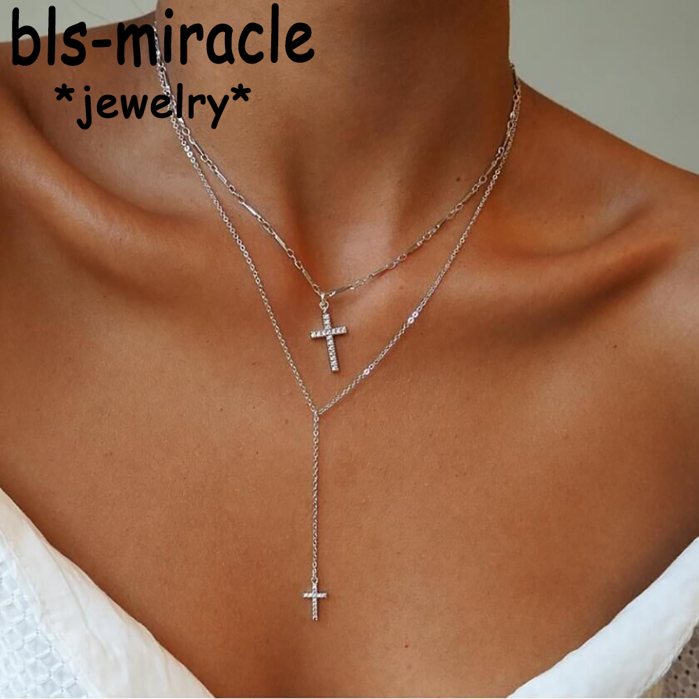 Fashion Gold Color Crystal Cross Necklaces Pendants Boho Double Layered Necklace Catholic Religious Christian Statement Jewelry