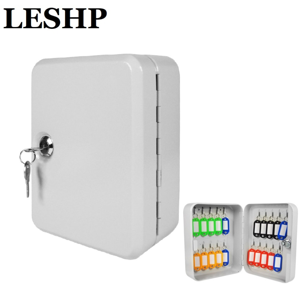 High Endurance 20 Tags Wall Mounted Lockable Security Metal Key Cabinet Box Safe Storage For Property Management Company Office practical key safe box lockable security metal key cabinet storage box safe 20 tags fobs wall mounted key security box wholesale