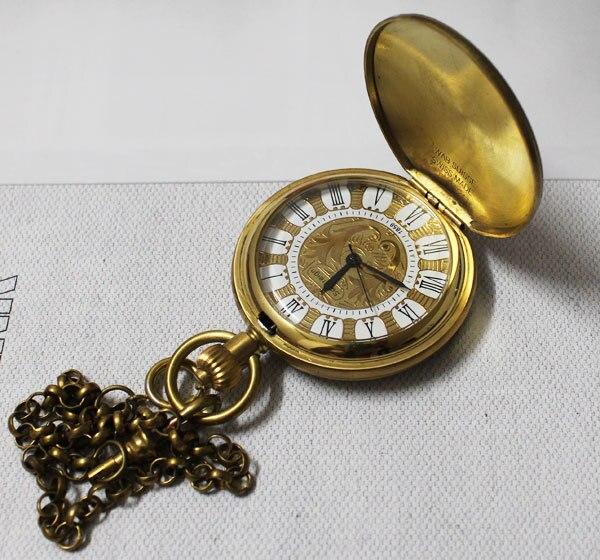 Personalised Half Hunter 100% Brass Crop Plated Skeleton Pocket Mechanical Watch