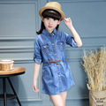 2017 Spring Children Dress Girls Beautiful High Quality Denim Baby Girls Dress Kids Dress For Age 2-12 Casual Suit
