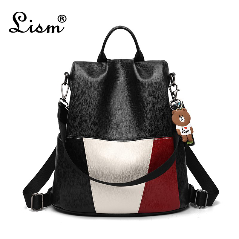 2018 New Fashion Zipper Ladies Backpack Leather High Quality School Bag Shoulder Bag For Youth Bags Leather Bear
