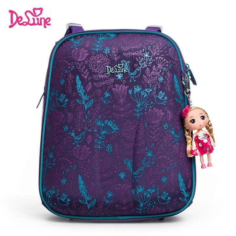 Delune Brand Girls School Bags Cartoon Character Kids Lavender Floral Orthopedic School Backpack Bag Boy Mochila